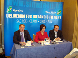 counterbalance: Aengus Ó Snodaigh, Mary Lou McDonald and Pádraig Mac Lochlainn at the launch of Majority View – Minority Report