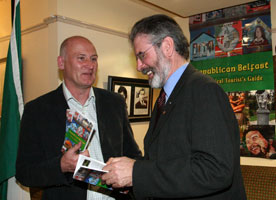 Rab Kerr with Gerry Adams at launch of book 23 Oct 2008