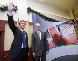 British Conservative Party leader David Cameron with UUP leader Sir Reg Empey