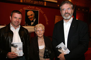 Seán Hughes, Chrissie Keenan and Gerry Adams at the booklet launch