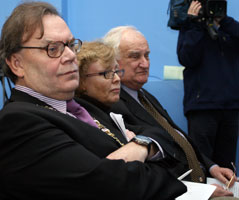 Tom Hartley with Leslie Carroll and Robin Eames at the AGM of Relatives For Justice