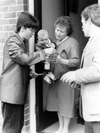 Former councillor Geraldine Ritchie on a canvas during the 1985 Council Elections