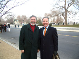 Gerry Adams at the inauguration in Washington DC with US Congressman and Chair of the Congressional Friends of Ireland Committee, Richie Neal