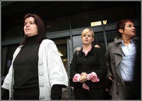FAMILY: Relatives of Robert Hamill arrive at the opening of the inquiry into his murder