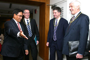 TALIKING PEACE: Philippine Presidential Adviser on the Peace Process Hermogenes C Esperon Junior, Gerry Kelly, Jonathan Powell and British Ambassador to the Phillipines Peter Beckingham at the recent event in the Philippines