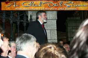 FULL HOUSE:  Gerry Adams addressing the people who could not fit in to the packed Mansion House event