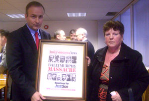 MEETING: Alice Harper, daughter of Danny Teggart, one of those killed by the British army in Ballymurphy in 1971, with Minister Micheál Martin