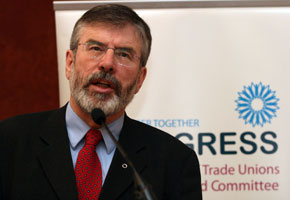 PEACEFUL SOLUTION: Adams speaking at ICTU report launch