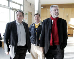 CRACKDOWN ON DRUGS: Aengus Ó Snodaigh, activist Rab Hunter and Gerry Adams attend launch of drugs awareness pamphlet