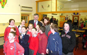 KILKENNY: Gerry Adams with local schoolchildren at the Fr McGrath Community Development and Family Resource centre in Killkenny