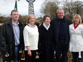 FAMILY: Martin McGuinness pictured with the late John Davey's wife  Mary, his son Eugene and daughters Pauline and Maria at last weekend's commemoration