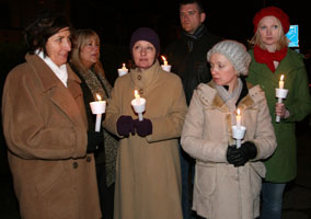VIGIL: Geraldine Finucane with family members