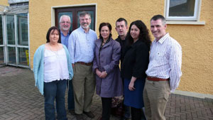 LEADERSHIP: Dawn Doyle, Gerry Adams, Mary Lou McDonald, Maurice Quinlivan, Rosaleen Doherty and Declan Kearney with Sinn Féin Director of Finance Des Mackin before the first meeting of the newly elected Officer Board on Wednesday.