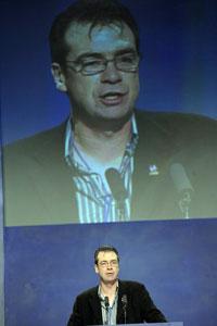 MANDATE: John Douglas addresses the Ard Fheis