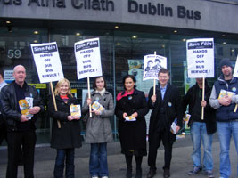 THE BUCK STOPS HERE: Mary Lou McDonald and North Inner City candidate Ruadhán Mac Aodhain at Dublin Bus Head Office in O'Connell Street