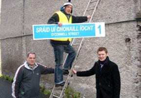 STEPPING UP: Aengus Ó Snodaigh TD and Ruadhán Mac Aodhán support Cathal Ó Murchú making Irish Number 1