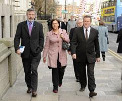 SINN FÉIN DELEGATION: Gerry Adams, Mary Lou McDonald and Conor Murphy