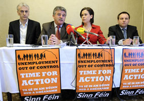 GETTING TO WORK: Robbie Smyth, Arthur Morgan, Mary Lou McDonald and Pádraig Mac Lochlainn