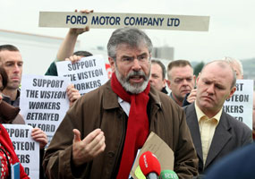 Gerry Adams met workers and union representatives at the Visteon plant on Wednesday