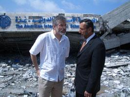 Shocking scenes: Sinn Féin President Gerry Adams with Sharabeel Al Zaeem, a Director of the American School in Gaza