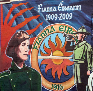 ANNIVERSARY: Mural in Beechemount Avenue in Belfast celbrating the 100th anniversary of the founding of Fianna Éireann by Constance Markievicz and Bulmer Hobson