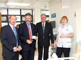 THE WAY FORWARD: Gerry Adams with Sinn Féin Cllrs John Dwyer and Maurice Roche on a visit to Wexford General Hospital