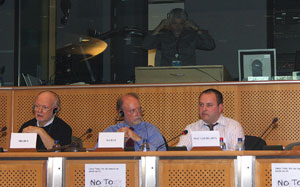 Erik Meijer MEP, Francis Wurtz MEP and Pádraig Mac Lochlainn of Sinn Féin representing the Netherlands, France and Ireland as the three countries which voted against the EU Constitution/Lisbon Treaty open the conference