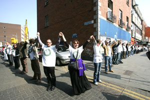UP IN ARMS: Campaigners rally round the 1916 HQ