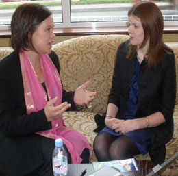 STAND TOGETHER: Sinn Féin's Kathleen Funchion photographed with fellow EU candidate Mary Lou McDonald MEP