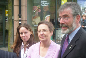 EURO VISION: MEP Bairbre de Brún – with Charlene O'Hara and Gerry Adams – speaks to the media after handing in her nomination papers