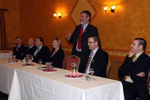 Gerry Adams addressing the meeting  in Ballinasloe, County Galway