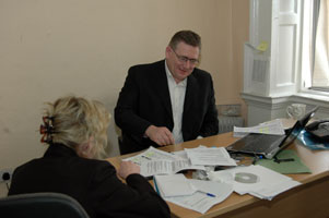 PLAN OF ACTION: Brian Tumilty in Sinn Féin Head Office