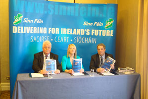 AT THE LAUNCH: Larry O'Toole, Sinead Cooke and Aengus Ó Snodaigh