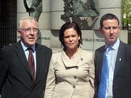 KEEP LEFT: Cllr Christy Burke, Mary Lou McDonald MEP and Sinn Féin Dublin South by-election candidate Shaun Tracey