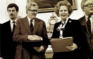 HAND IN HAND: Fine Gael Taoiseach Garret FitzGerald with Margaret Thatcher at the signing of the Anglo-Irish Agreement in 1985