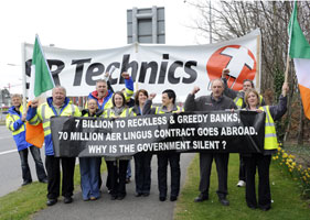 Workers from SR Technics blocked the main entrance to Dublin Airport