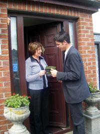 Councillor Killian Forde on a recent canvass