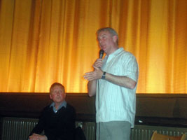 Brendan 'Bik' McFarlane addresses a spell-bound audience