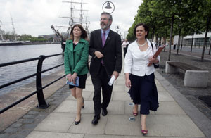LAUNCHING THE MANIFESTO: Gerry Adams arrives down by the Liffey with East candidate Kathleen Funchion and Dublin MEP Mary Lou McDonald to unveil Sinn Féin's EU manifesto