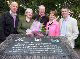PROUD: Kevin Lynch's sisters, Bridie and Jeannie, with Martin McGuinness, Seán McGlinchey and Declan Kearney