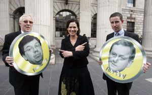NO CHANGE: By-election candidates Christy Burke and Shaun Tracey help Mary Lou McDonald show there's little value in a vote for Fianna Fáil or Fine Gael