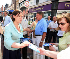 TURN YOUR ANGER INTO ACTION:  Mary Lou McDonald and Gerry Adams on an election walkabout on Grafton Street