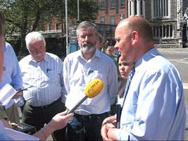 CALL TO ACTION: Sinn Féin Cllr Daithí Doolan launches the local elections manifesto with (anti-clockwise) Mary Lou McDonald, Gerry Adams and Cllr Larry O'Toole