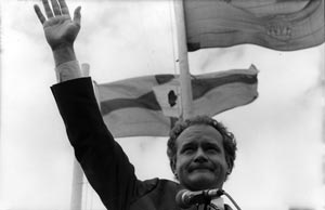 HAND OF ULSTER: McGuinness addresses the crowd in 1993