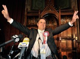 BRITAIN – BNP's Nick Griffin celebrates his election