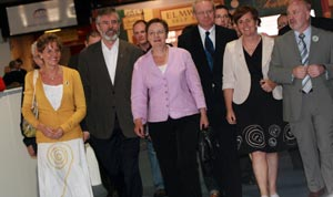 MAKING HISTORY: Bairbre de Brún and Sinn Féin representatives at the count