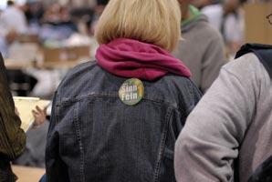 COUNTDOWN: Sinn Féin activists tally in the RDS, Dublin