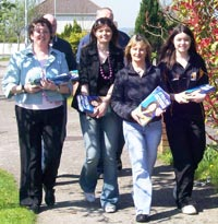 THE CAT LAUGHS: Kathleen and the team on the hustings
