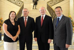 MOVERS AND SHAKERS: Michelle Gildernew, Christy Cooney, Uachtarán of the GAA, Martin McGuinness and Conor Murphy