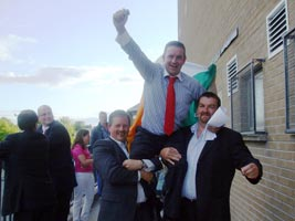THEY CARRIED ME OVER THE FINISHING LINE: Celebrating Damien's win for Sinn Féin